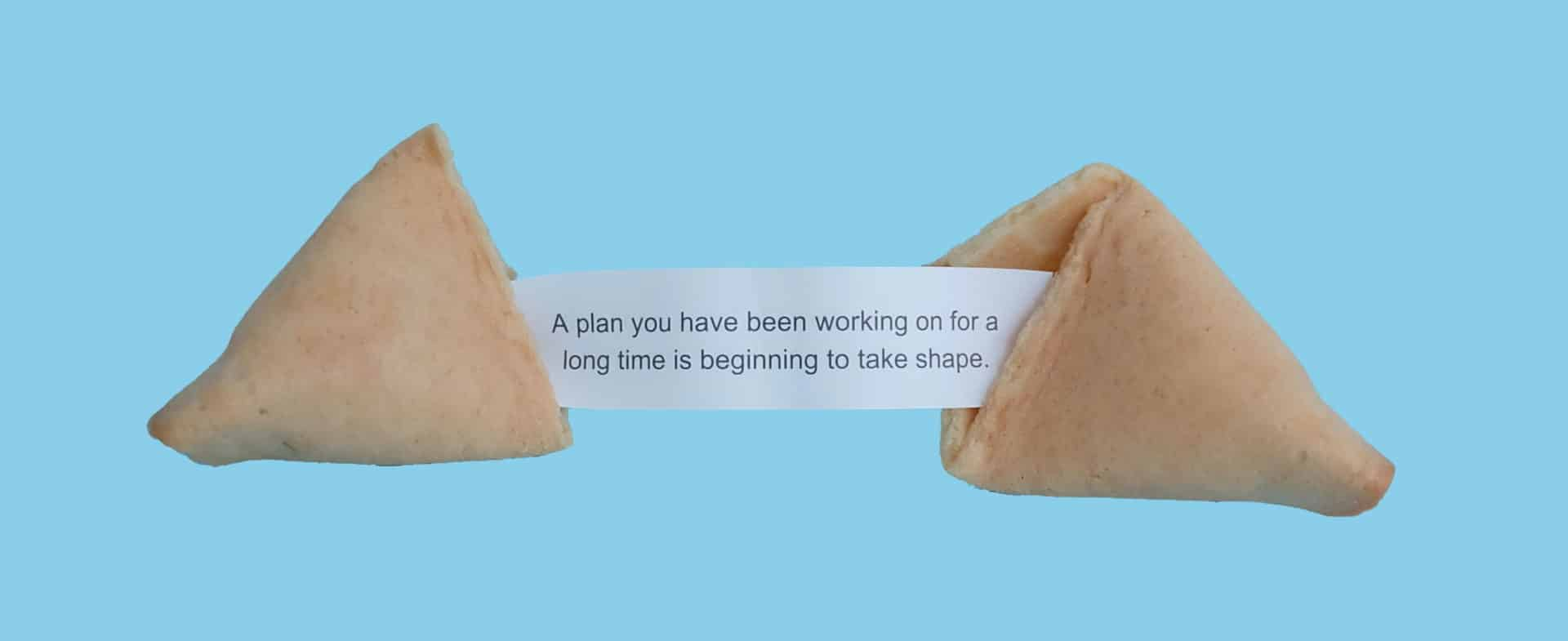 Fortune cookie - A plan you have been working on for a long time is beginning to take shape.